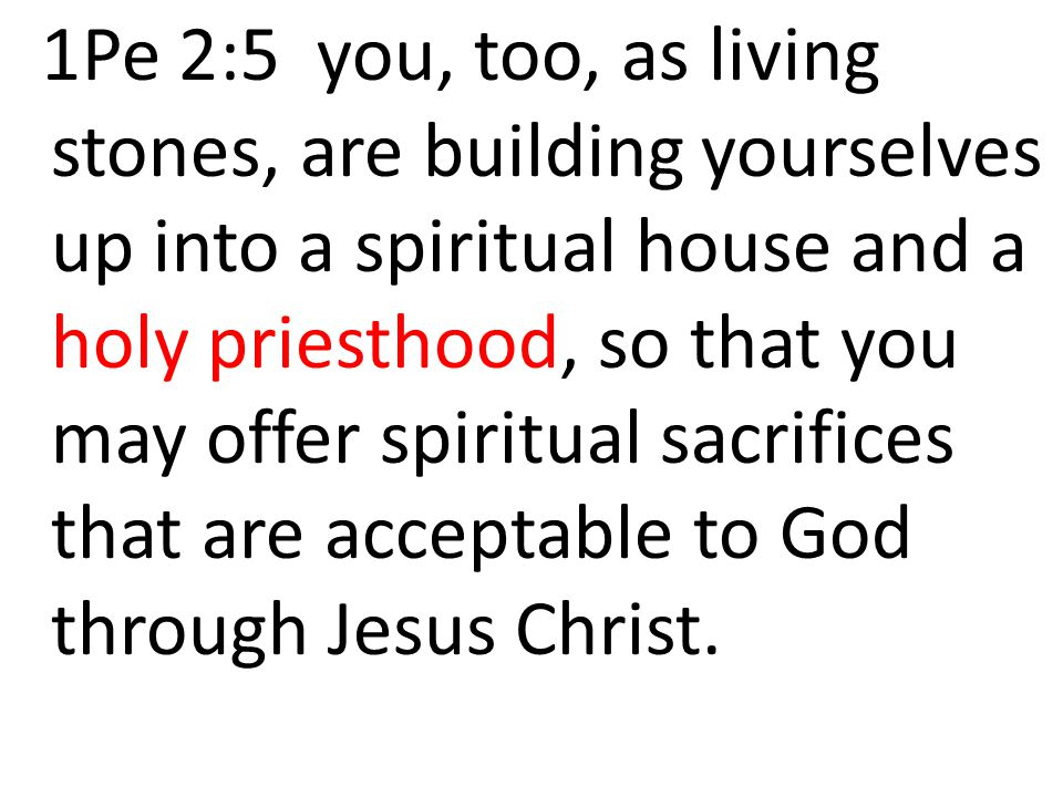 1Pe 2:5 you, too, as living stones, are building yourselves up into a spiritual house and a holy priesthood, so that you may offer spiritual sacrifices that are acceptable to God through Jesus Christ.