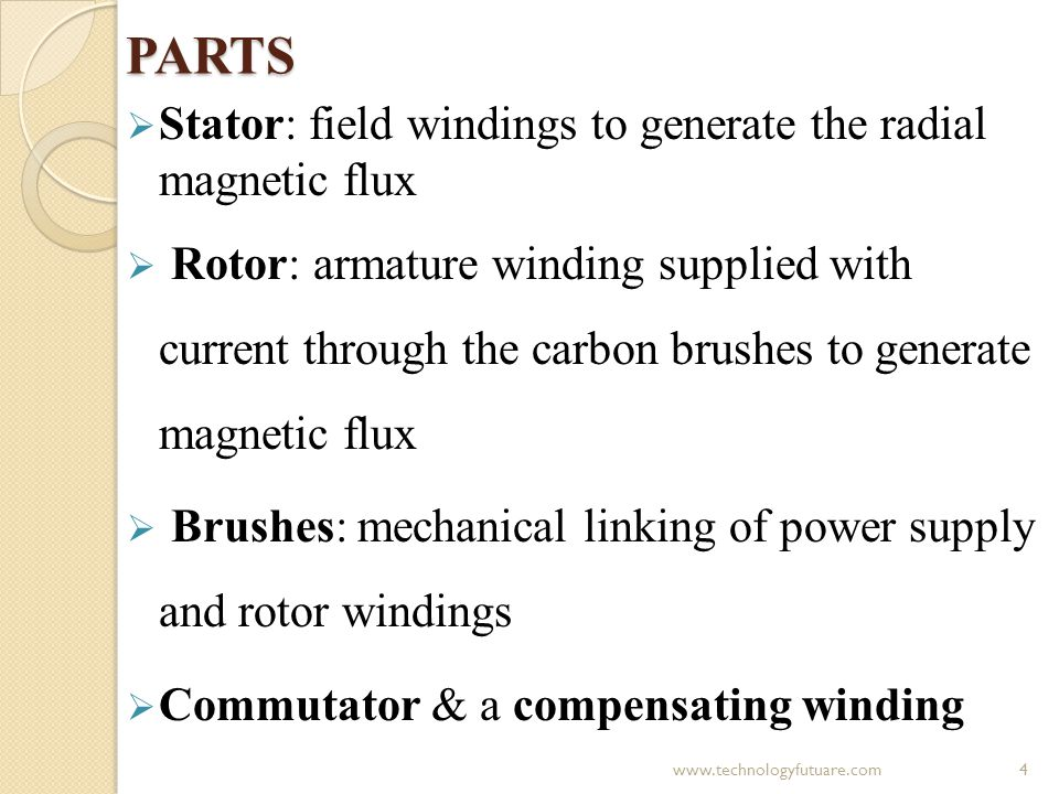 PARTS Stator: field windings to generate the radial magnetic flux