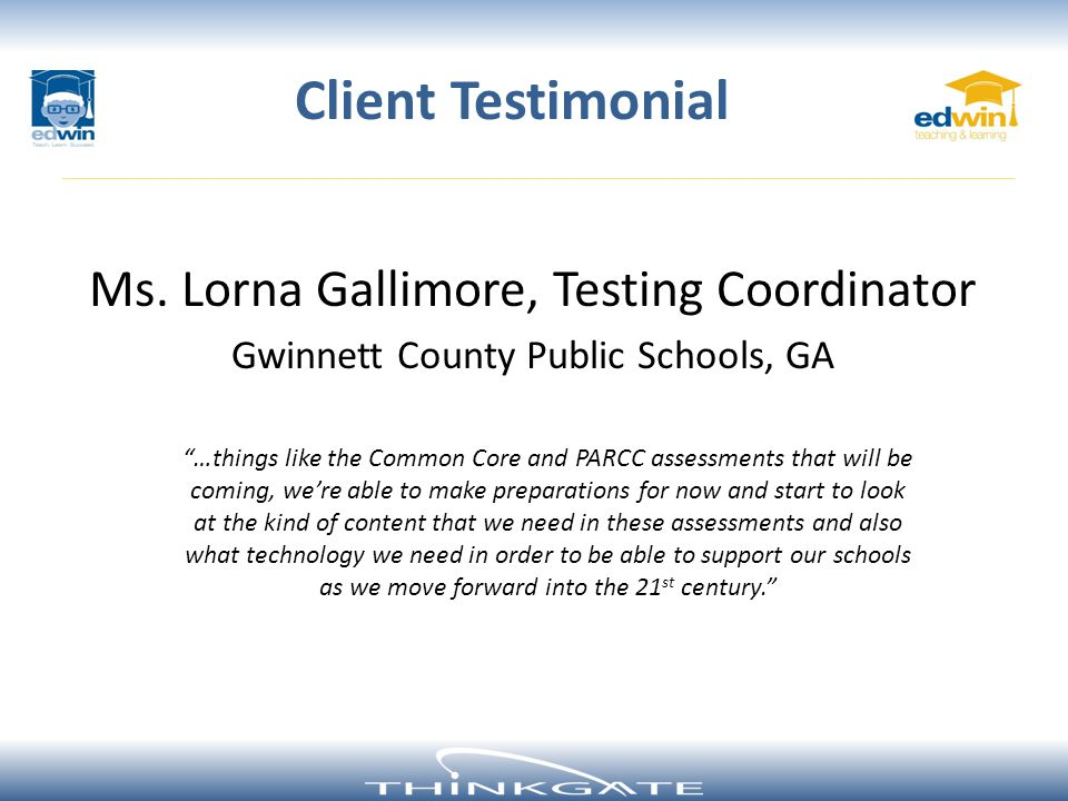 Client Testimonial Ms. Lorna Gallimore, Testing Coordinator