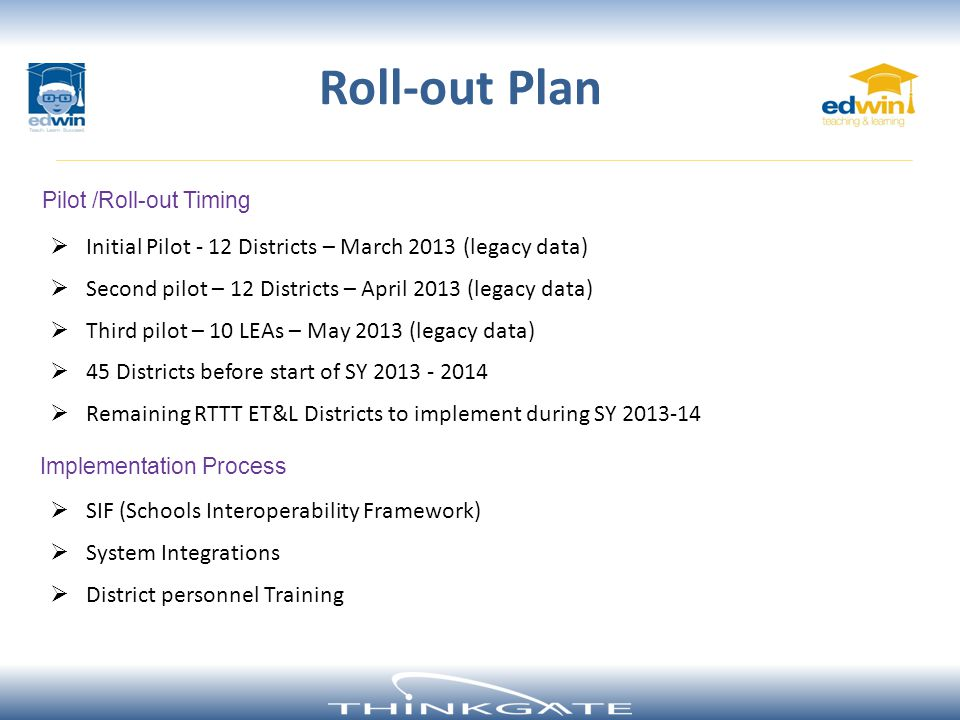 Roll-out Plan Initial Pilot - 12 Districts – March 2013 (legacy data)