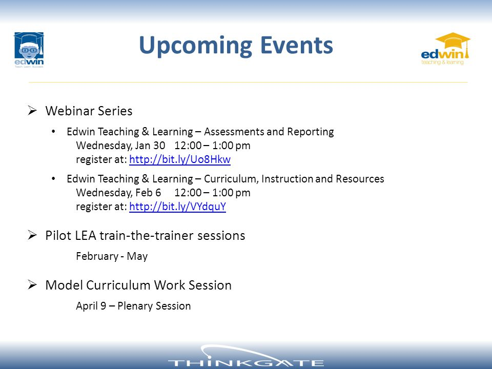 Upcoming Events Webinar Series Pilot LEA train-the-trainer sessions