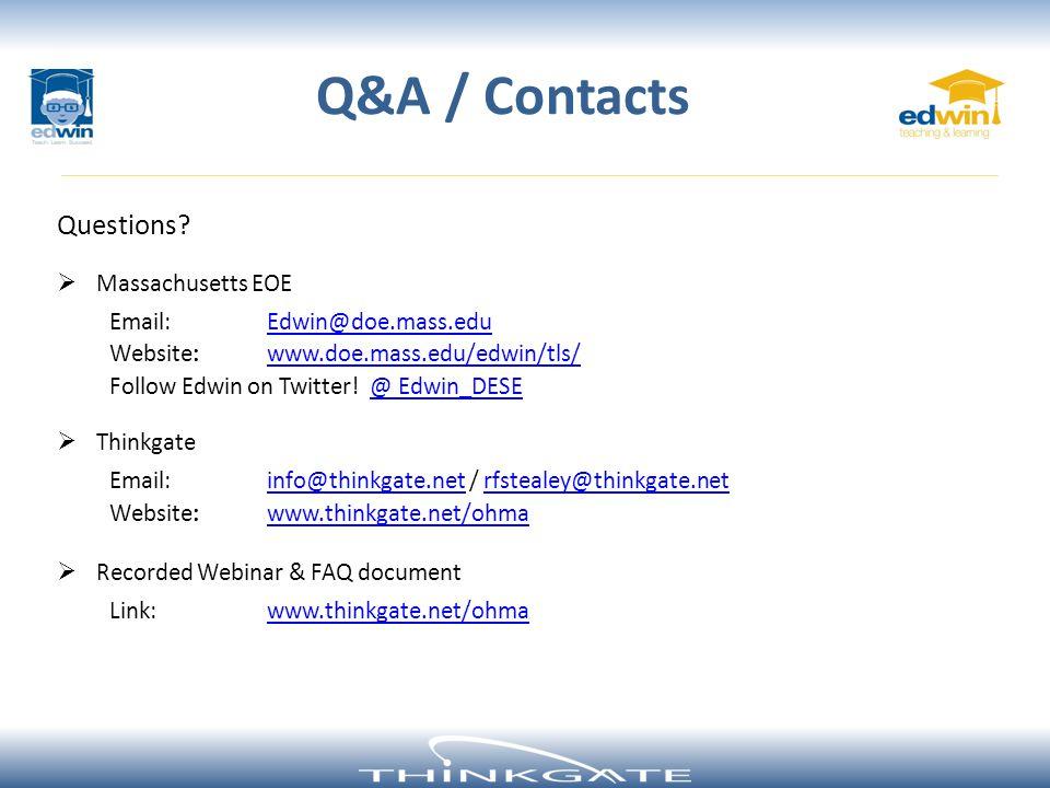 Q&A / Contacts Questions Massachusetts EOE