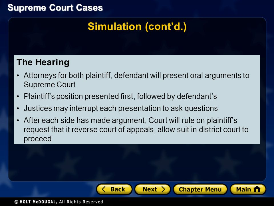 Simulation (cont'd.) The Hearing