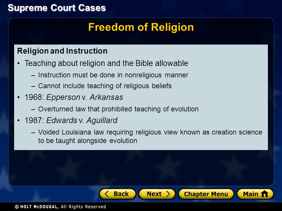 Freedom of Religion Religion and Instruction