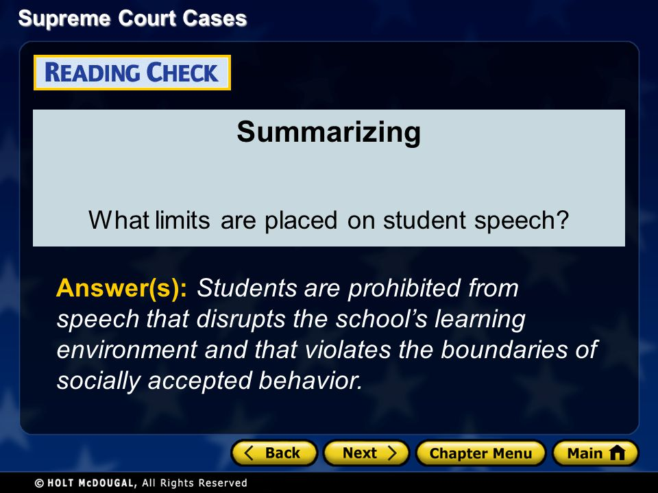 What limits are placed on student speech