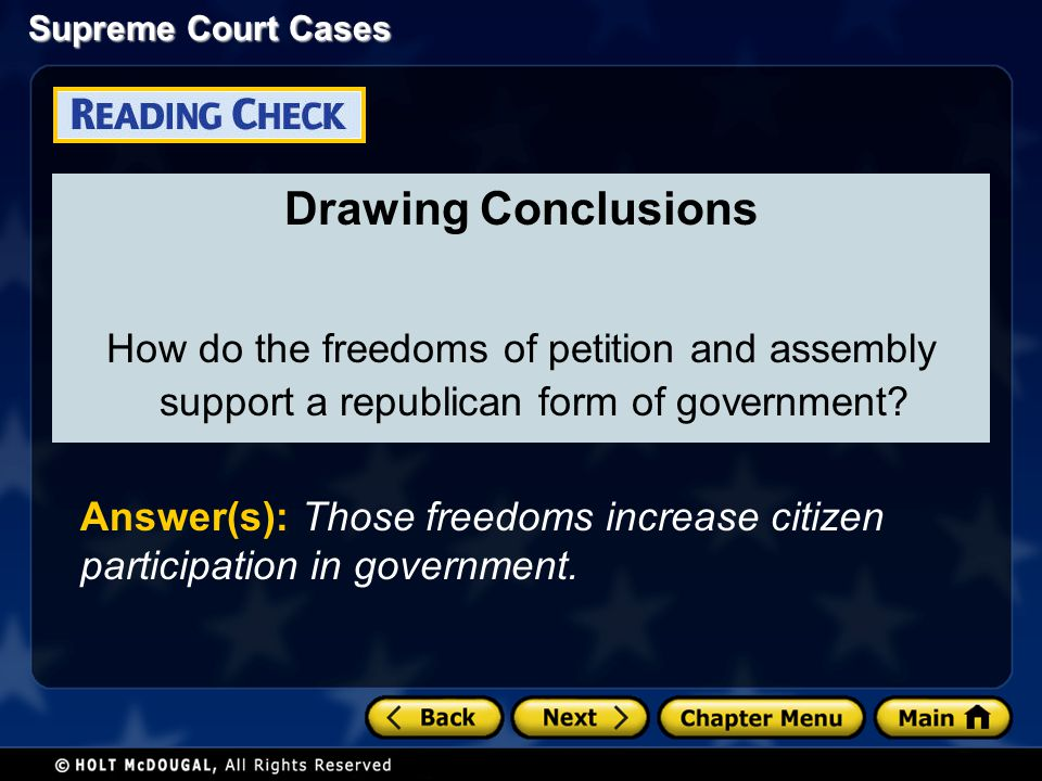 Drawing Conclusions How do the freedoms of petition and assembly support a republican form of government