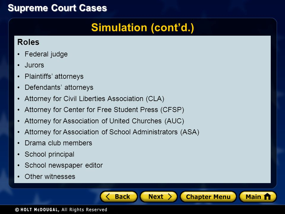 Simulation (cont'd.) Roles Federal judge Jurors Plaintiffs' attorneys