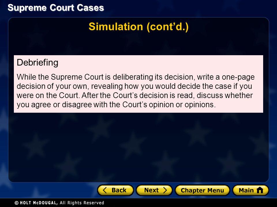 Simulation (cont'd.) Debriefing