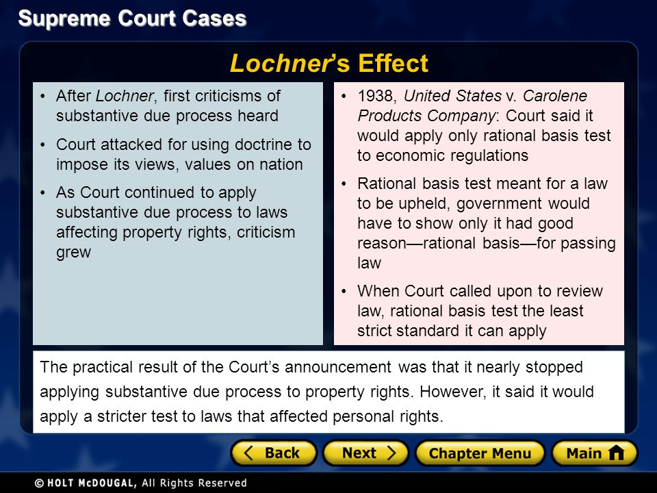 Lochner's Effect After Lochner, first criticisms of substantive due process heard.