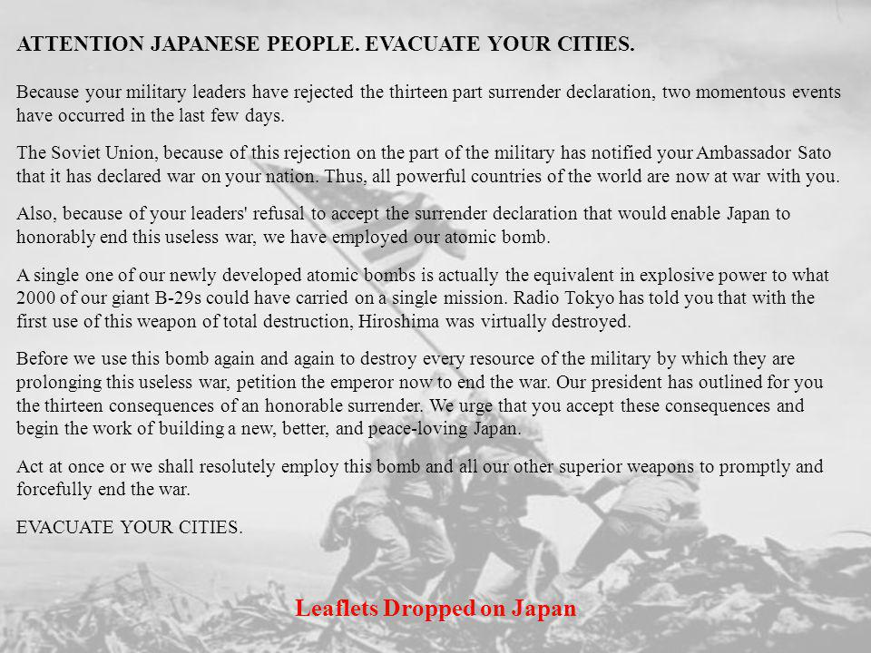 Leaflets Dropped on Japan