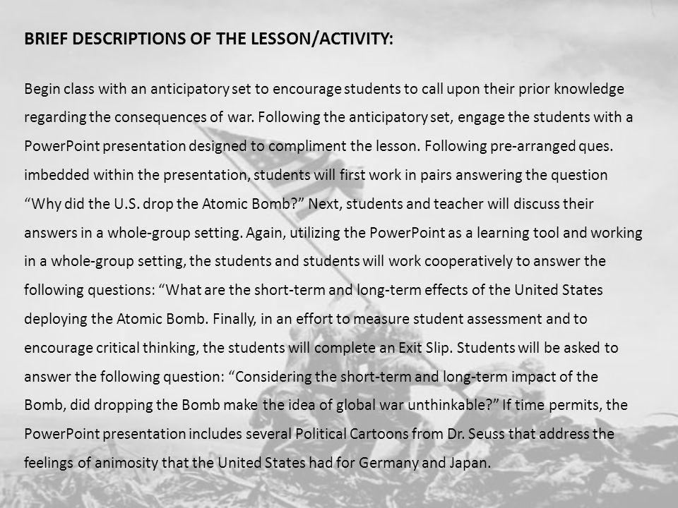 BRIEF DESCRIPTIONS OF THE LESSON/ACTIVITY: