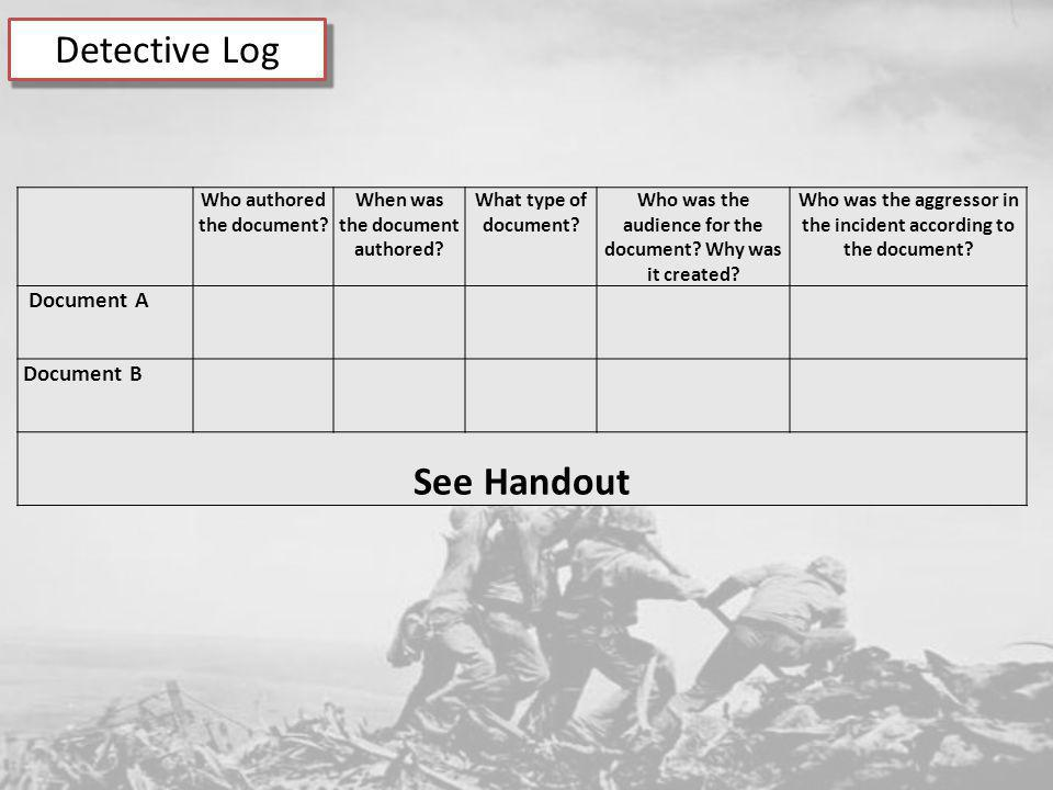 Detective Log See Handout Document A Document B