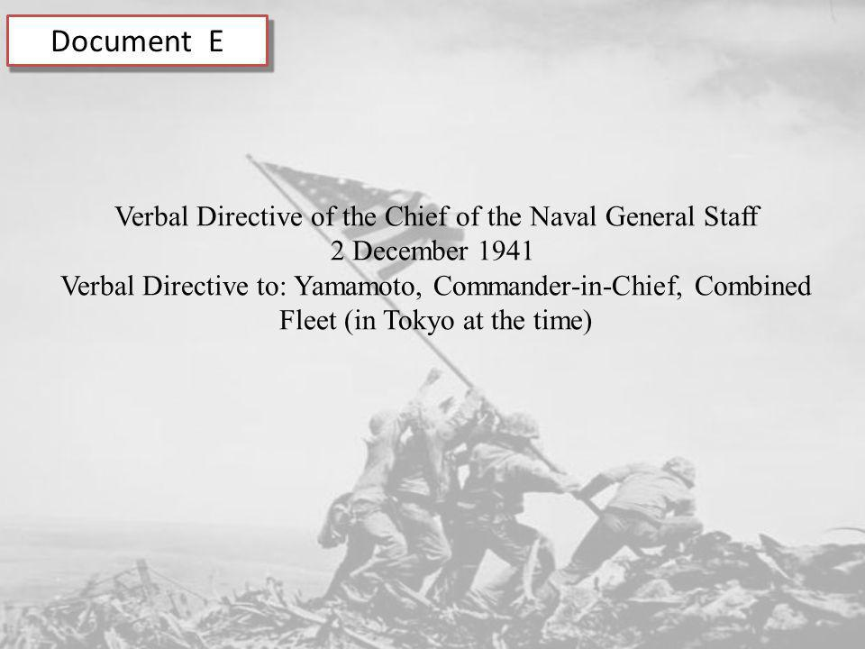 Verbal Directive of the Chief of the Naval General Staff