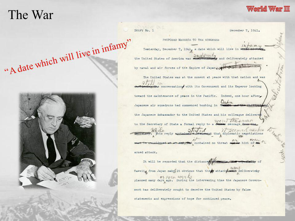 World War II The War A date which will live in infamy