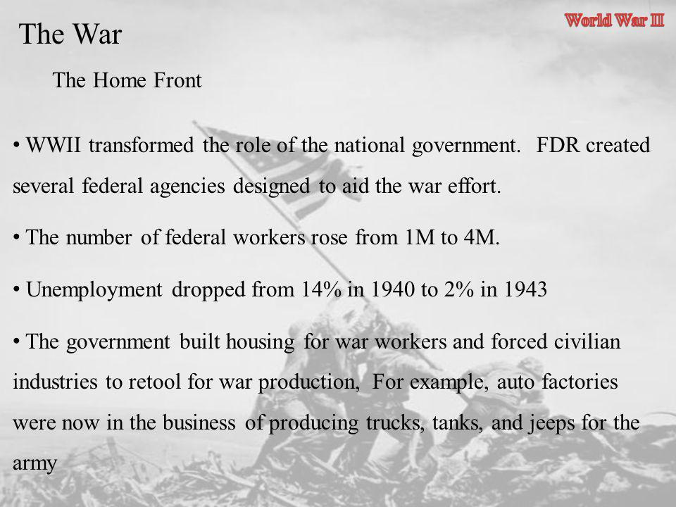 World War II The War. The Home Front.