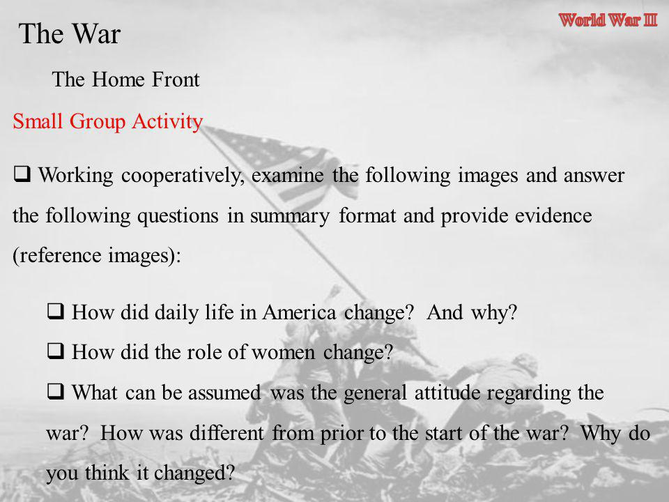 The War The Home Front Small Group Activity