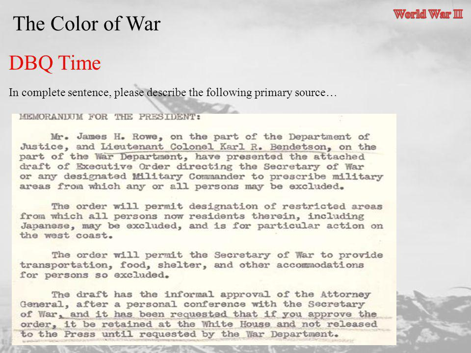 The Color of War DBQ Time World War II