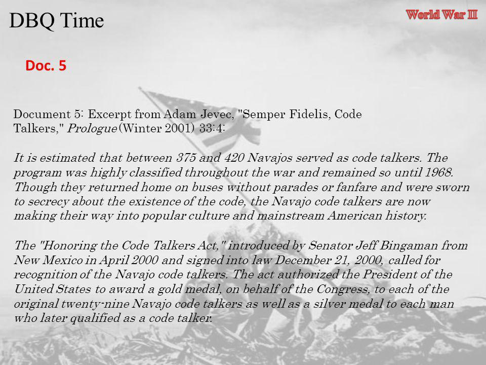 DBQ Time Doc. 5 World War II