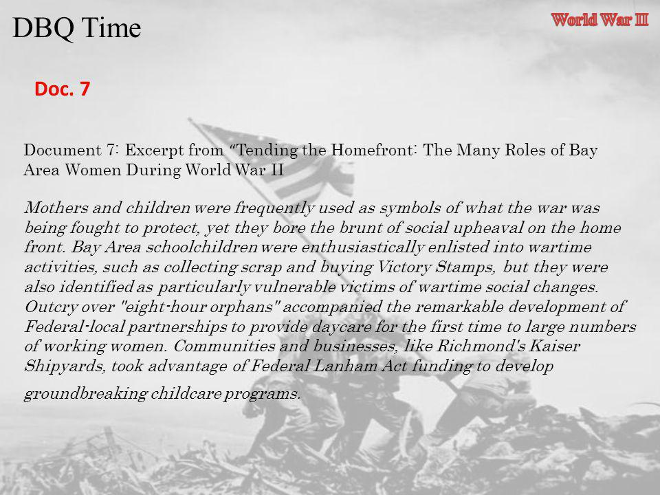 DBQ Time Doc. 7 World War II