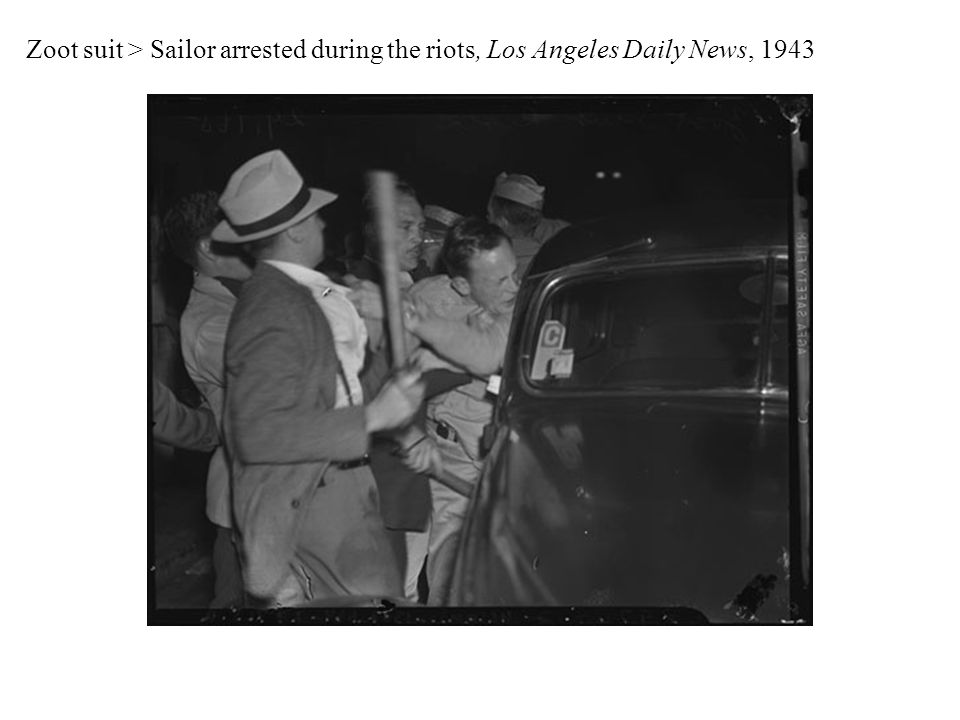 Zoot suit > Sailor arrested during the riots, Los Angeles Daily News, 1943