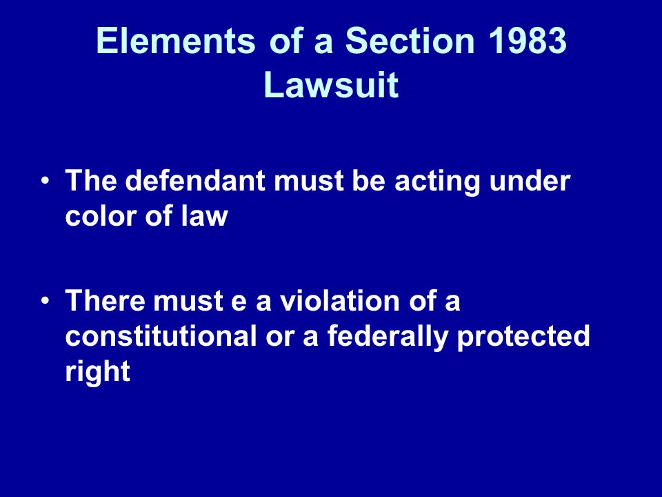 Elements of a Section 1983 Lawsuit