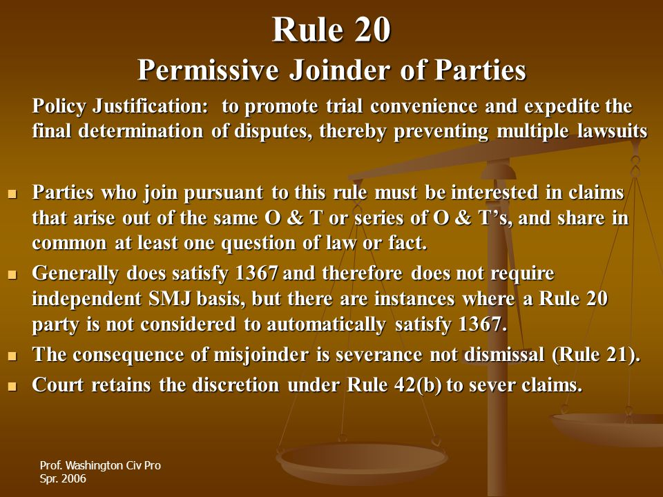 Rule 20 Permissive Joinder of Parties