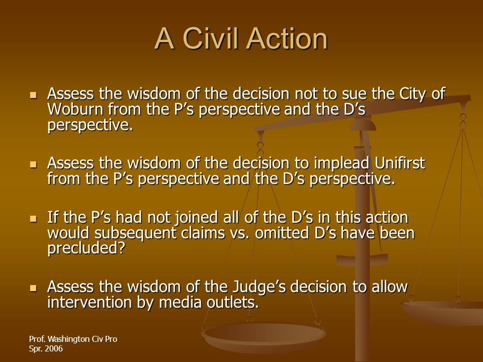 A Civil Action Assess the wisdom of the decision not to sue the City of Woburn from the P's perspective and the D's perspective.