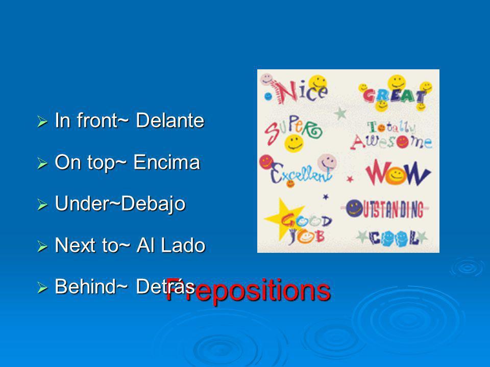 Prepositions In front~ Delante On top~ Encima Under~Debajo