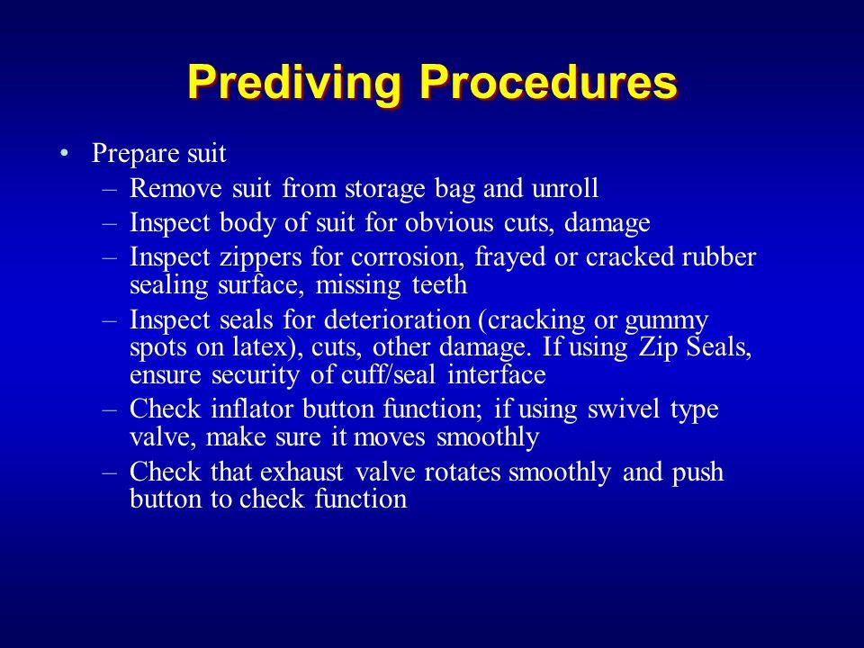 Prediving Procedures Prepare suit