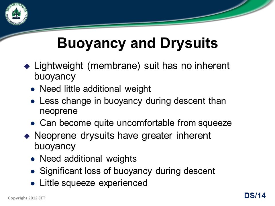 Buoyancy and Drysuits Lightweight (membrane) suit has no inherent buoyancy. Need little additional weight.