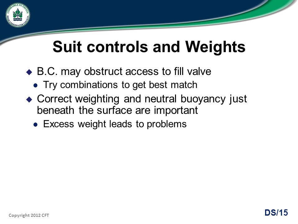 Suit controls and Weights