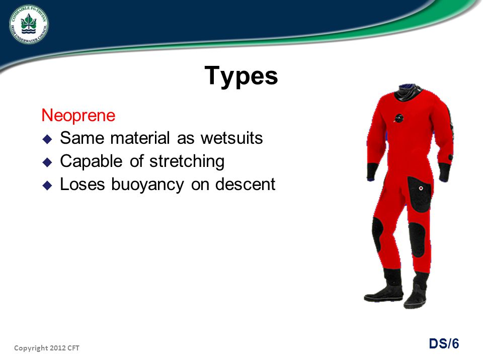 Types Neoprene Same material as wetsuits Capable of stretching