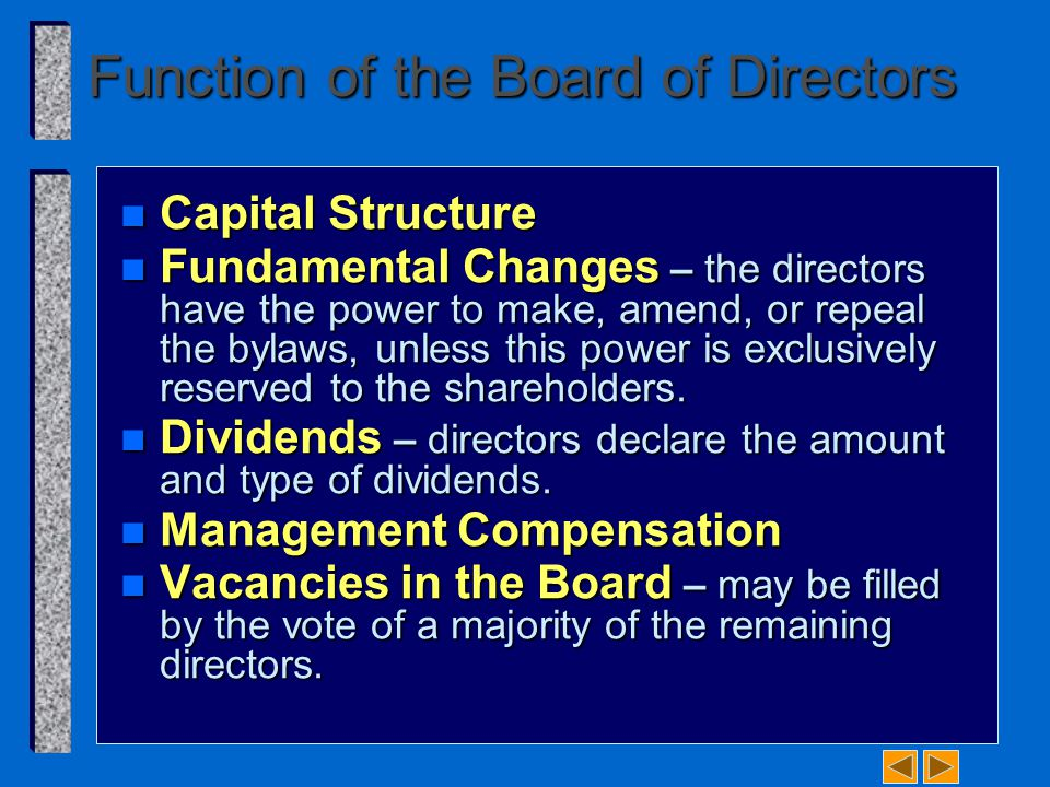 Function of the Board of Directors