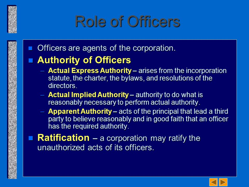 Role of Officers Authority of Officers