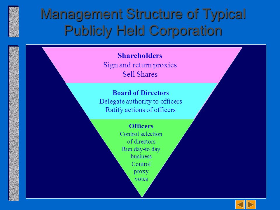 Management Structure of Typical Publicly Held Corporation