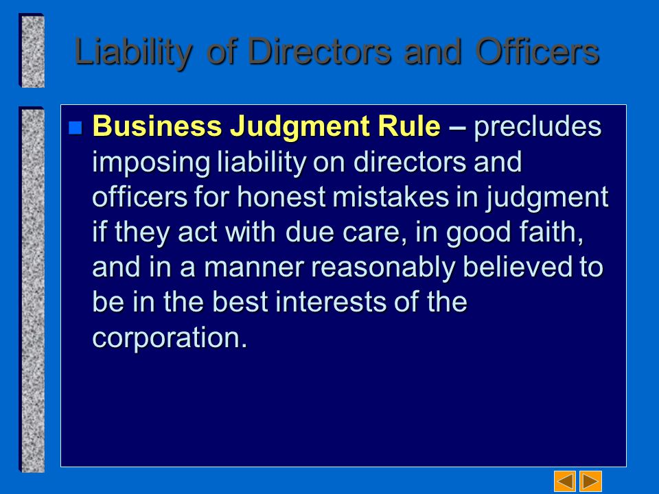 Liability of Directors and Officers