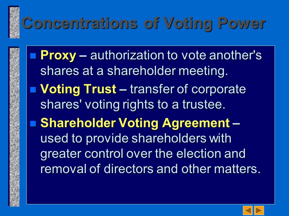 Concentrations of Voting Power