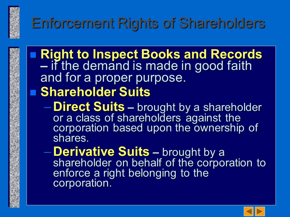 Enforcement Rights of Shareholders