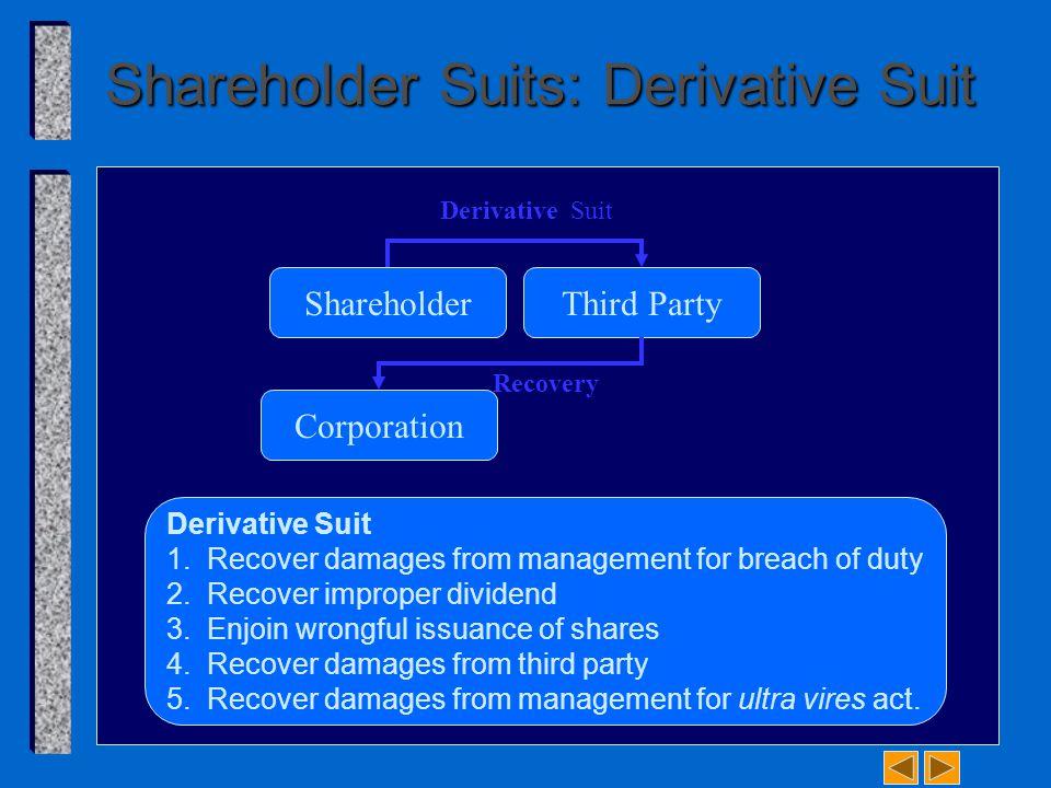 Shareholder Suits: Derivative Suit