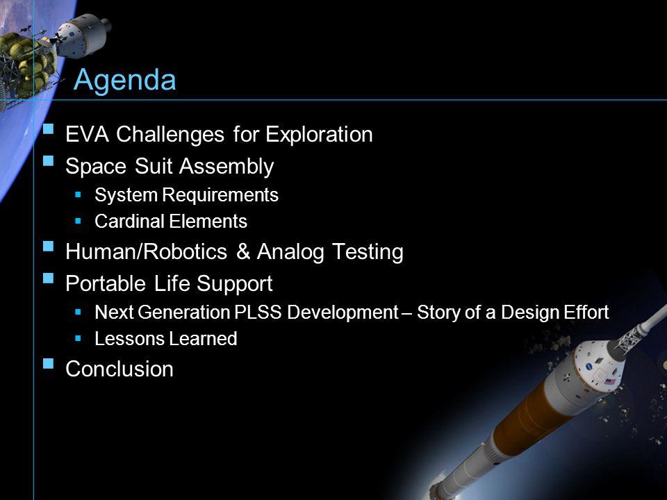 Agenda EVA Challenges for Exploration Space Suit Assembly