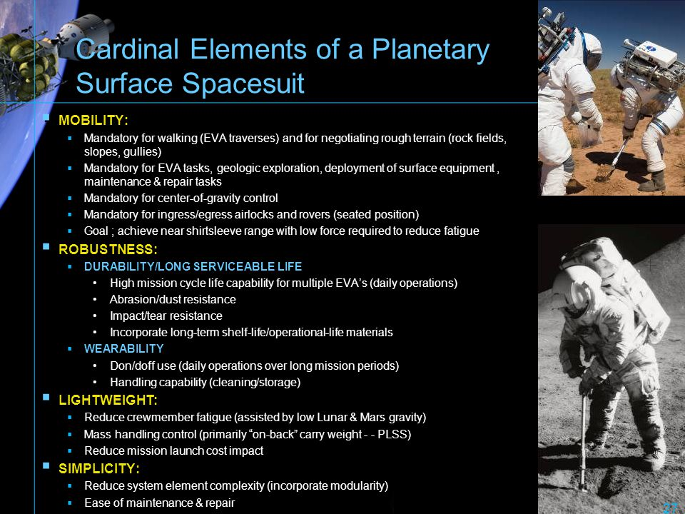 Cardinal Elements of a Planetary Surface Spacesuit