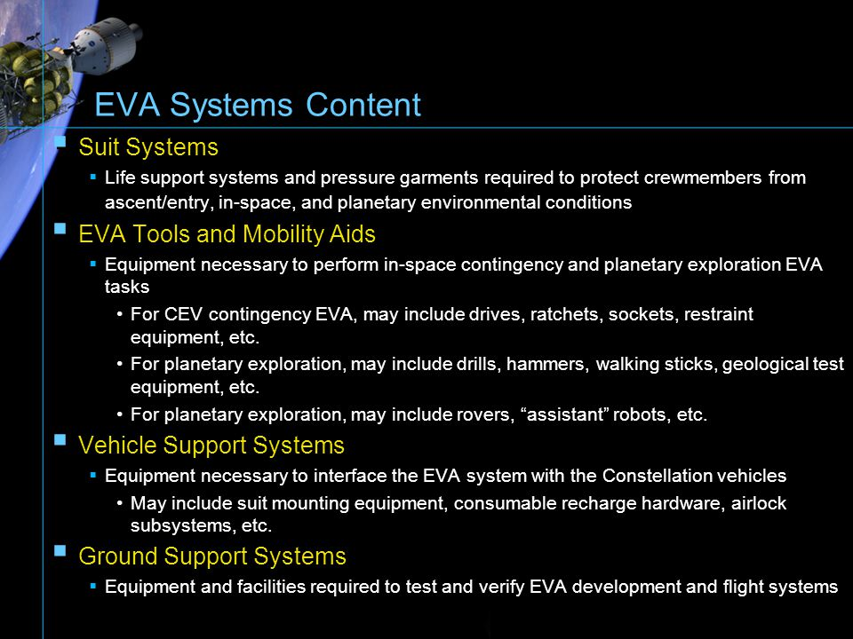 EVA Systems Content Suit Systems EVA Tools and Mobility Aids