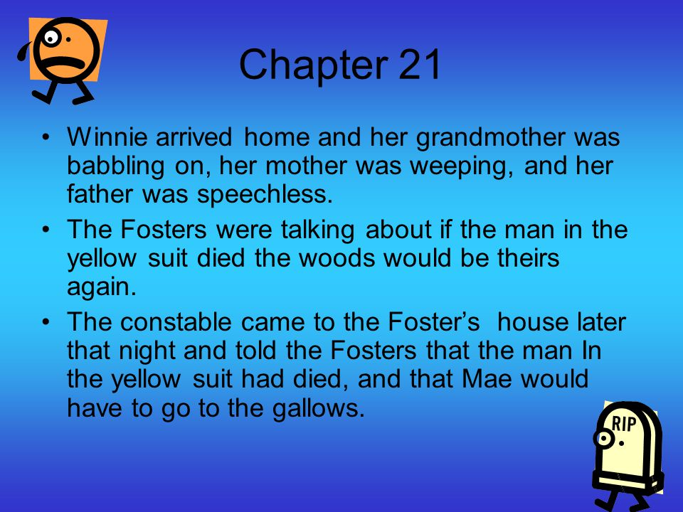 Chapter 21 Winnie arrived home and her grandmother was babbling on, her mother was weeping, and her father was speechless.