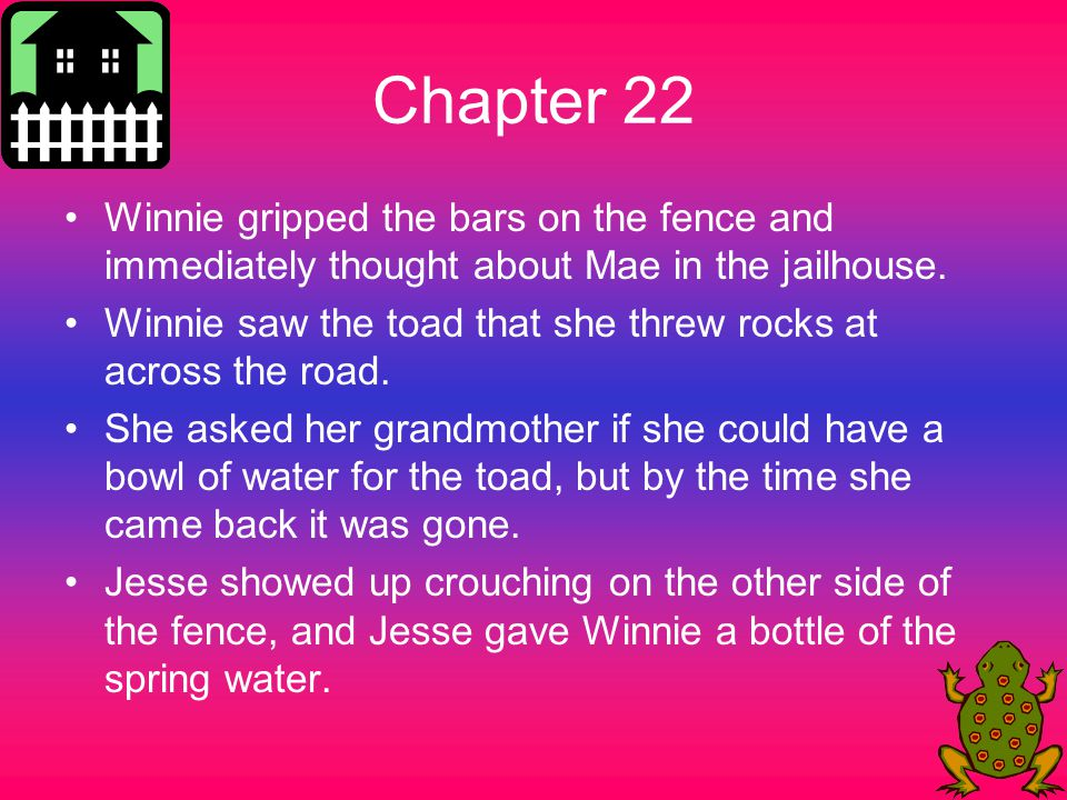 Chapter 22 Winnie gripped the bars on the fence and immediately thought about Mae in the jailhouse.