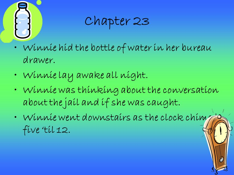 Chapter 23 Winnie hid the bottle of water in her bureau drawer.