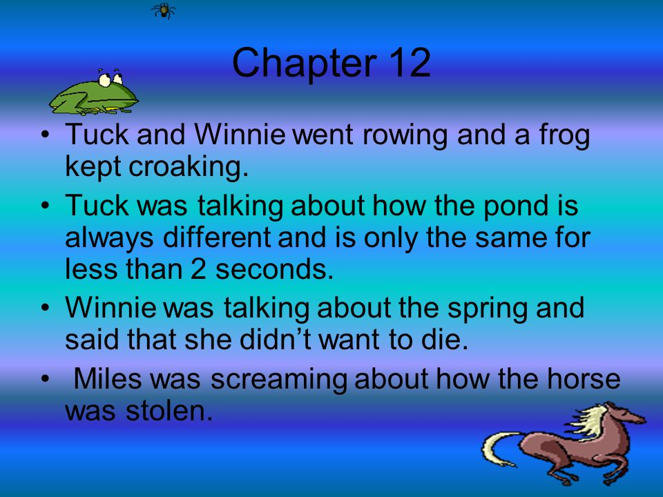 Chapter 12 Tuck and Winnie went rowing and a frog kept croaking.