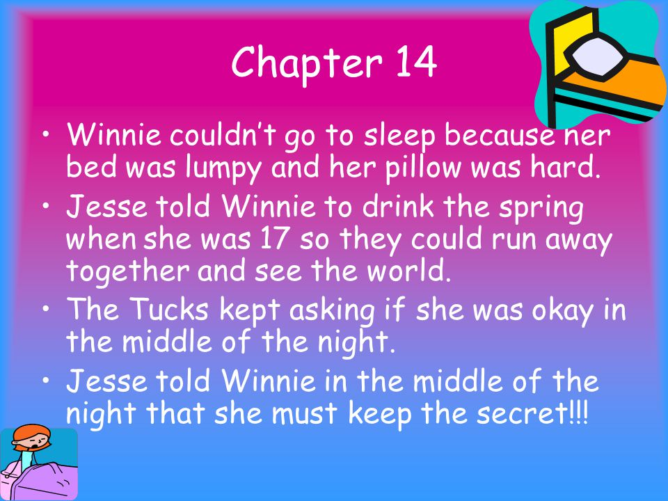 Chapter 14 Winnie couldn't go to sleep because her bed was lumpy and her pillow was hard.