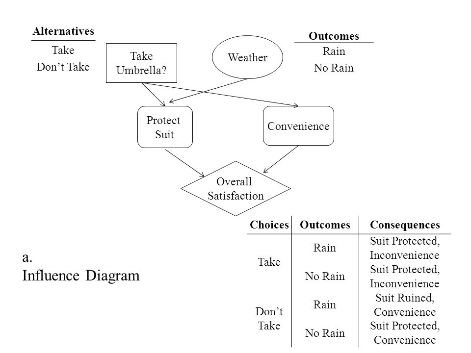 a. Influence Diagram Alternatives Take Don't Take Outcomes Rain