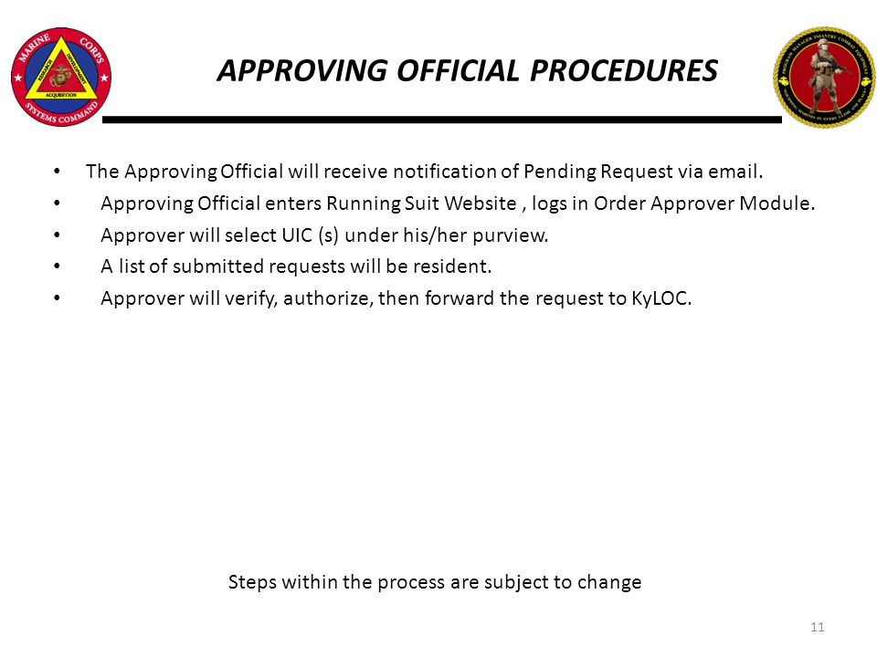 APPROVING OFFICIAL PROCEDURES