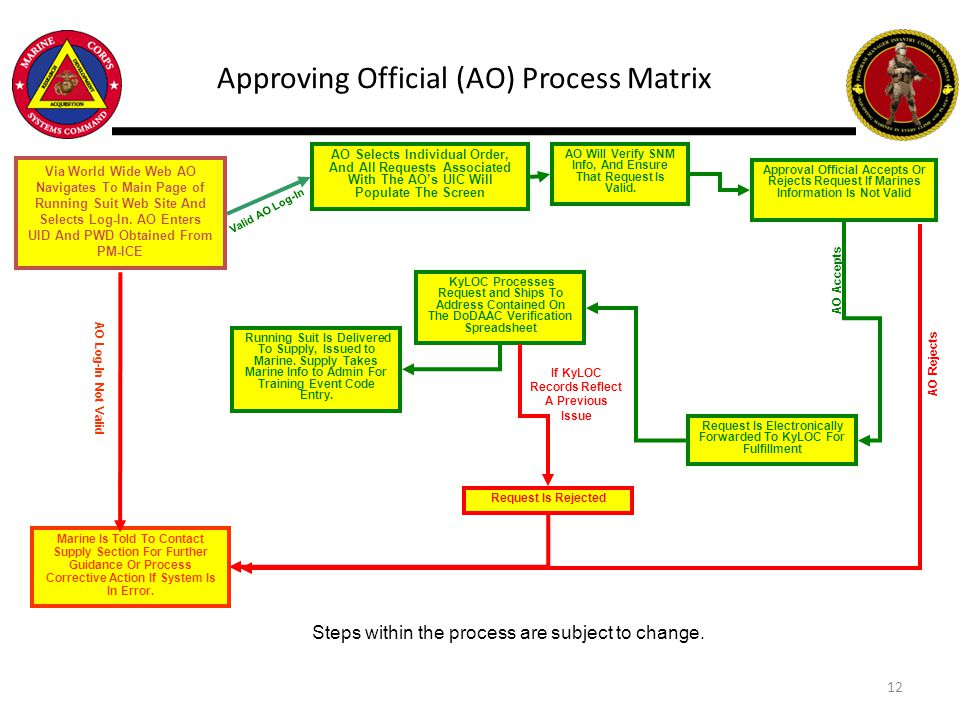 Approving Official (AO) Process Matrix